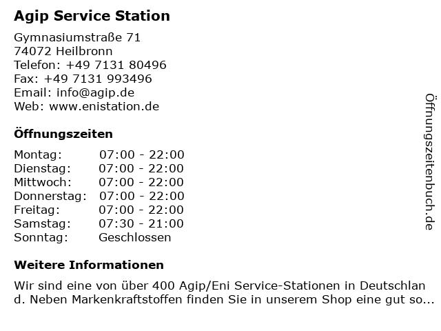 Agip Service Station in Heilbronn: Adresse und Öffnungszeiten