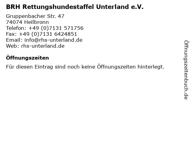 BRH Rettungshundestaffel Unterland e.V. in Heilbronn: Adresse und Öffnungszeiten