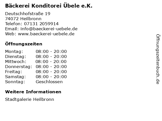 Bäckerei Konditorei Übele e.K. in Heilbronn: Adresse und Öffnungszeiten