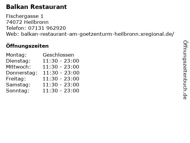 Balkan Restaurant in Heilbronn: Adresse und Öffnungszeiten