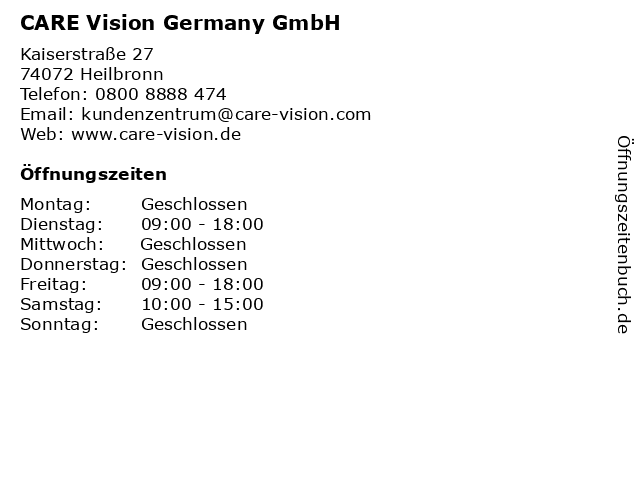 CARE Vision Germany GmbH in Heilbronn: Adresse und Öffnungszeiten