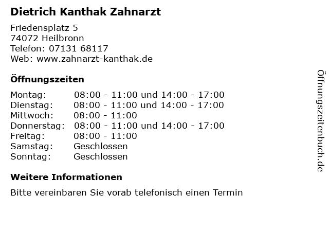 Dietrich Kanthak Zahnarzt in Heilbronn: Adresse und Öffnungszeiten