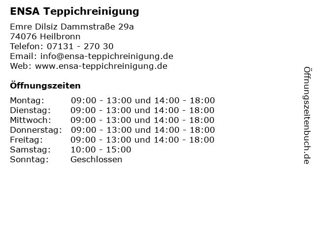 ENSA Teppichreinigung in Heilbronn: Adresse und Öffnungszeiten