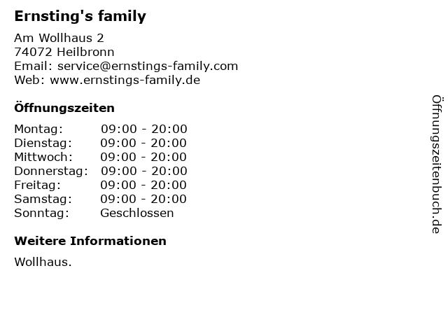 Ernsting's family GmbH & Co. KG in Heilbronn: Adresse und Öffnungszeiten