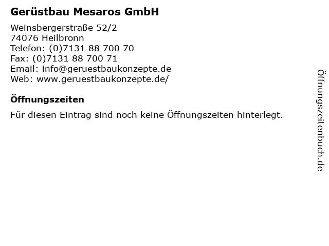 Gerüstbau Mesaros GmbH in Heilbronn: Adresse und Öffnungszeiten