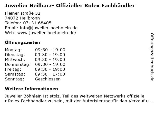 Beilharz Uhren & Schmuck in Heilbronn: Adresse und Öffnungszeiten