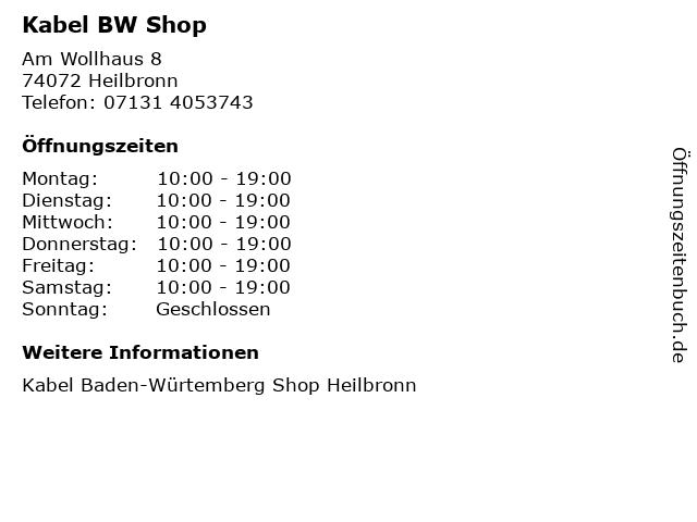Kabel BW Shop in Heilbronn: Adresse und Öffnungszeiten
