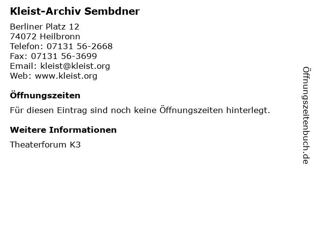 Kleist-Archiv Sembdner in Heilbronn: Adresse und Öffnungszeiten