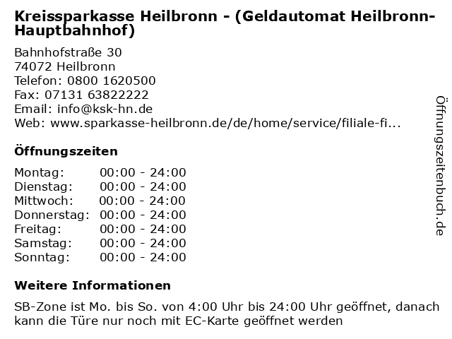 Kreissparkasse Heilbronn - (Geldautomat Heilbronn-Hauptbahnhof) in Heilbronn: Adresse und Öffnungszeiten