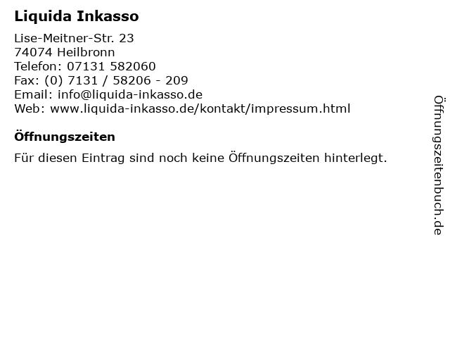 ᐅ öffnungszeiten Liquida Inkasso Lise Meitner Str 23 In Heilbronn