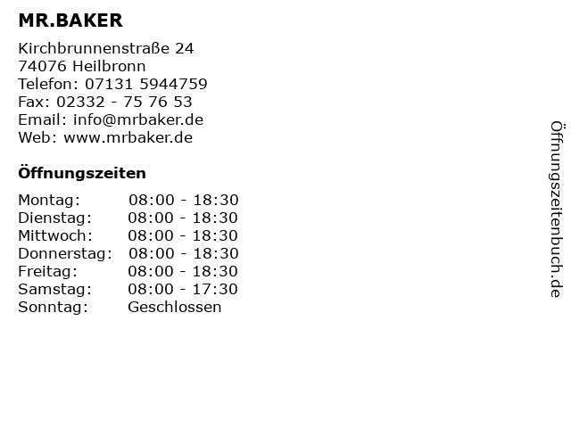 MR.BAKER in Heilbronn: Adresse und Öffnungszeiten