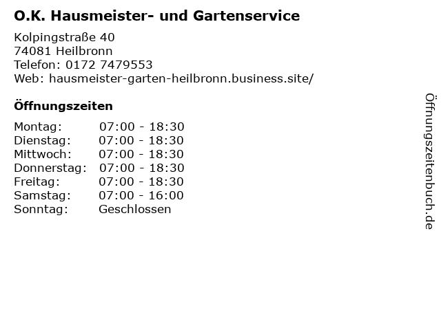 O.K. Hausmeister- und Gartenservice in Heilbronn: Adresse und Öffnungszeiten