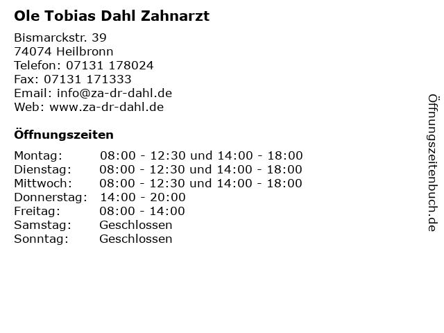Ole Tobias Dahl Zahnarzt in Heilbronn: Adresse und Öffnungszeiten