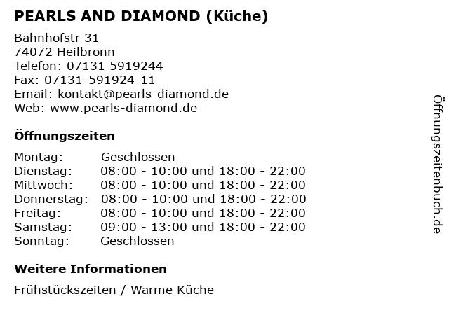 PEARLS AND DIAMOND (Küche) in Heilbronn: Adresse und Öffnungszeiten