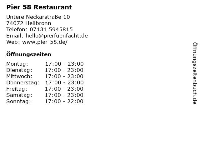 ᐅ öffnungszeiten Pier 58 Restaurant Untere Neckarstraße 10 In