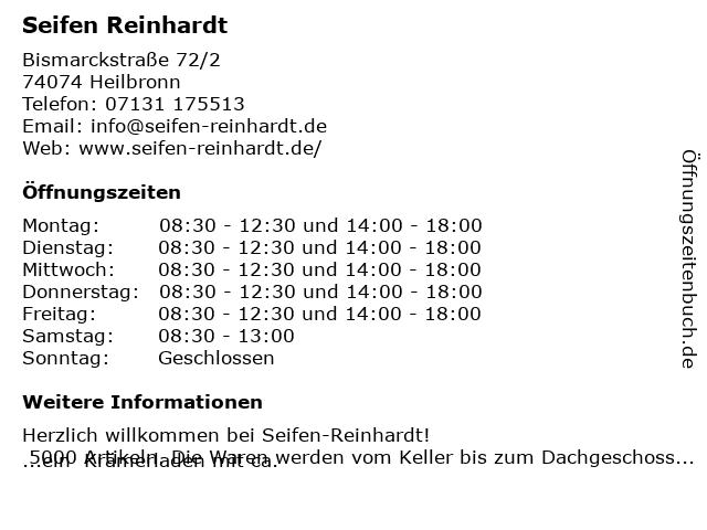 Reinhardt GmbH Haushaltswaren in Heilbronn: Adresse und Öffnungszeiten