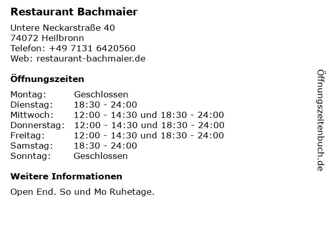 ᐅ öffnungszeiten Restaurant Bachmaier Untere Neckarstraße 40 In