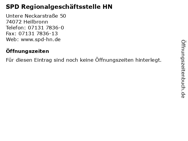 ᐅ öffnungszeiten Spd Regionalgeschäftsstelle Hn Untere