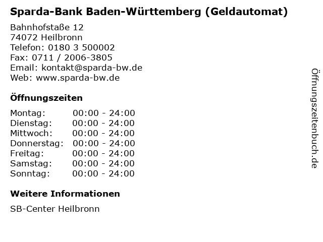 Sparda-Bank Baden-Württemberg (Geldautomat) in Heilbronn: Adresse und Öffnungszeiten