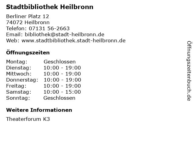 Stadtbibliothek Heilbronn in Heilbronn: Adresse und Öffnungszeiten