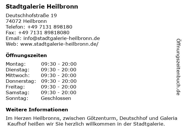 Stadtgalerie Heilbronn in Heilbronn: Adresse und Öffnungszeiten