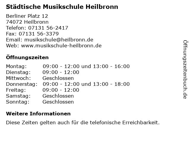 Städtische Musikschule Heilbronn in Heilbronn: Adresse und Öffnungszeiten
