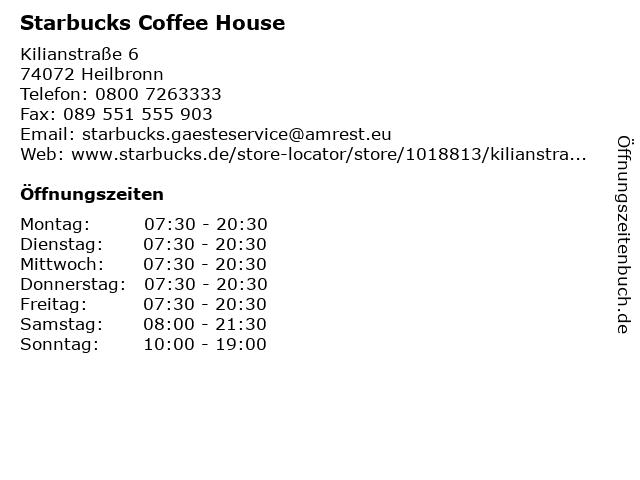 Starbucks Coffee House in Heilbronn: Adresse und Öffnungszeiten