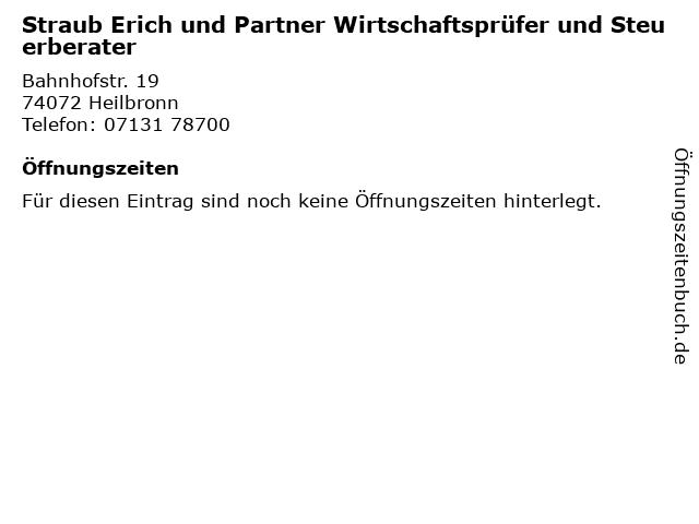 Straub Erich und Partner Wirtschaftsprüfer und Steuerberater in Heilbronn: Adresse und Öffnungszeiten