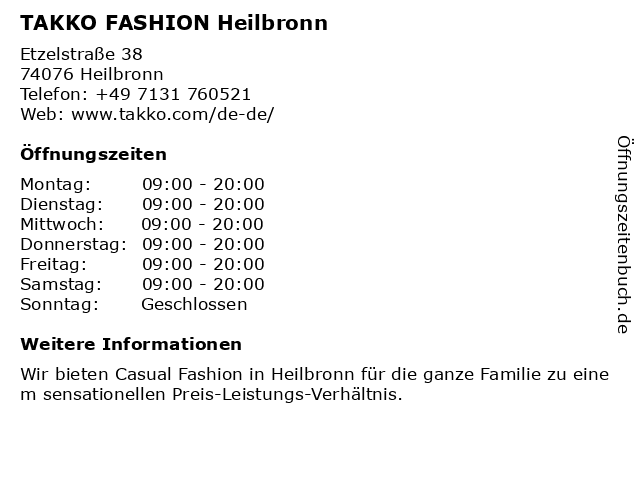 Takko fashion in Heilbronn: Adresse und Öffnungszeiten