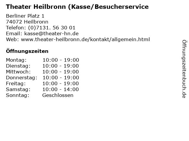 Theater Heilbronn (Kasse/Besucherservice in Heilbronn: Adresse und Öffnungszeiten