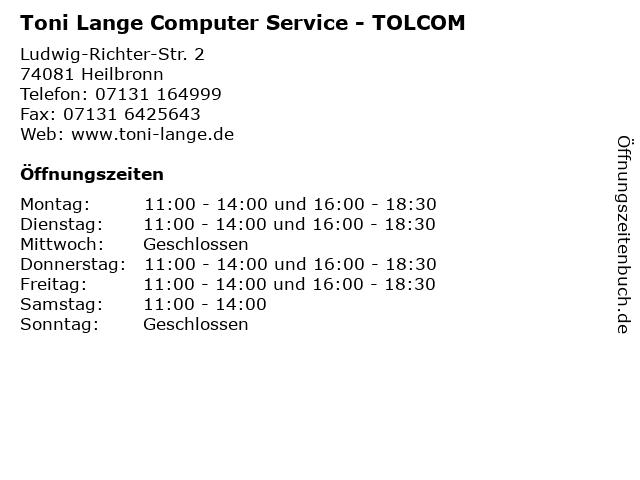 Toni Lange Computer Service - TOLCOM in Heilbronn: Adresse und Öffnungszeiten