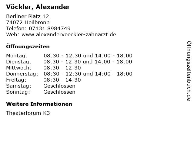 Vöckler, Alexander in Heilbronn: Adresse und Öffnungszeiten