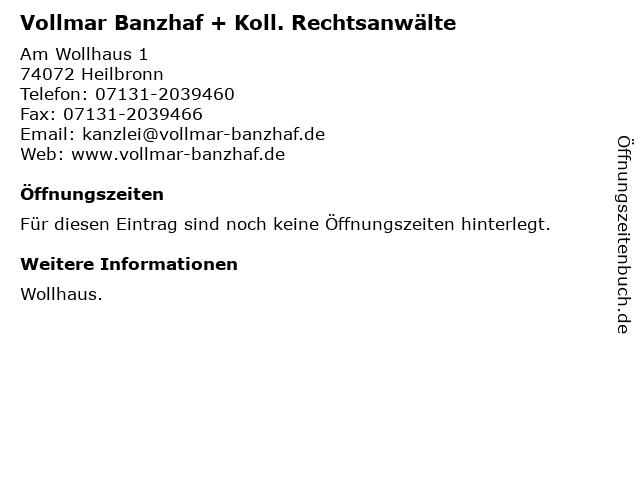 Vollmar Banzhaf + Koll. Rechtsanwälte in Heilbronn: Adresse und Öffnungszeiten