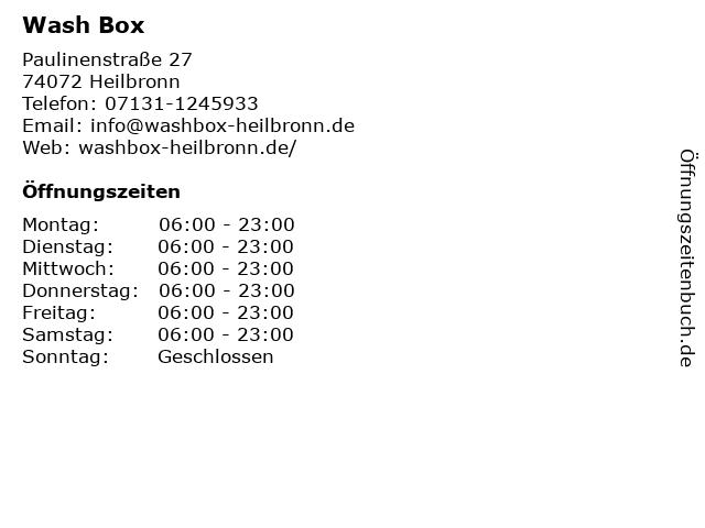 Wash Box in Heilbronn: Adresse und Öffnungszeiten