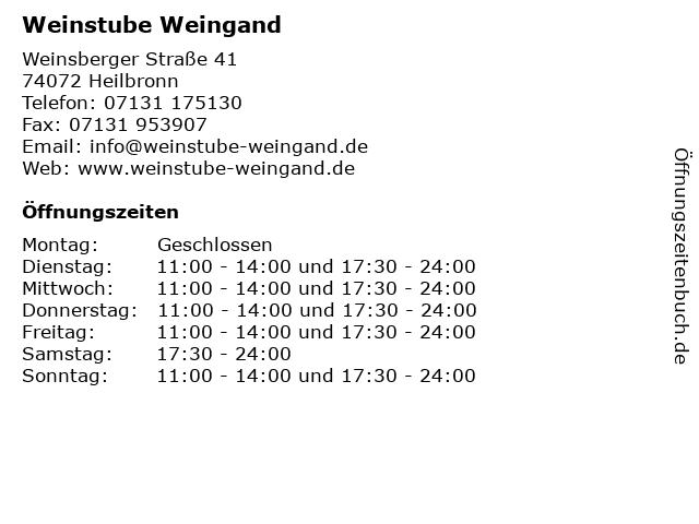 Weinstube Weingand in Heilbronn: Adresse und Öffnungszeiten