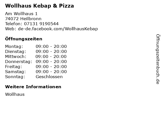 Wollhaus Kebap & Pizza in Heilbronn: Adresse und Öffnungszeiten