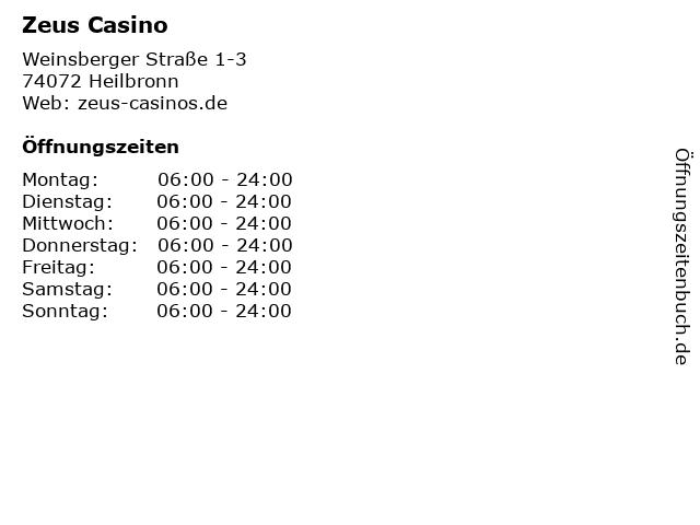 Zeus Casino in Heilbronn: Adresse und Öffnungszeiten
