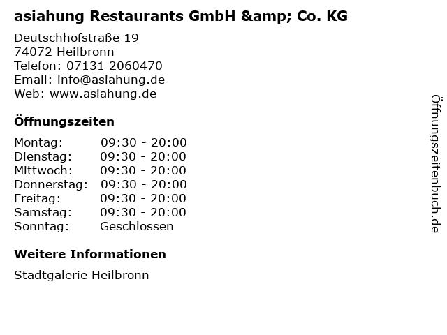 asiahung Restaurants GmbH & Co. KG in Heilbronn: Adresse und Öffnungszeiten