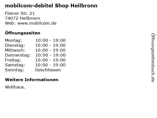 mobilcom-debitel Shop Heilbronn in Heilbronn: Adresse und Öffnungszeiten