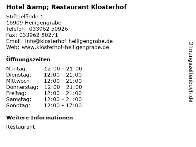 ᐅ Offnungszeiten Hotel Restaurant Klosterhof Stiftgelande 1