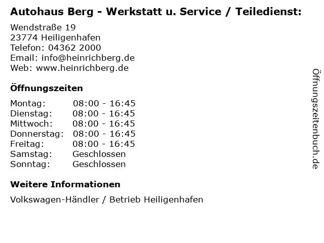 Autohaus Berg - Werkstatt u. Service / Teiledienst: in Heiligenhafen: Adresse und Öffnungszeiten