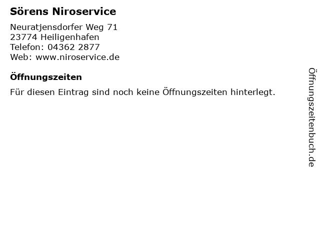 Sörens Niroservice in Heiligenhafen: Adresse und Öffnungszeiten
