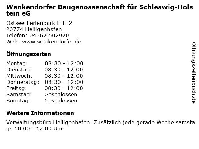 Wankendorfer Baugenossenschaft für Schleswig-Holstein eG in Heiligenhafen: Adresse und Öffnungszeiten
