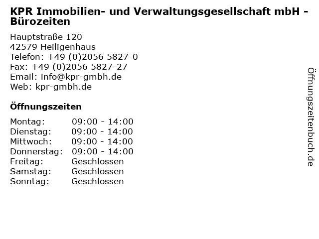 KPR Immobilien- und Verwaltungsgesellschaft mbH - Bürozeiten in Heiligenhaus: Adresse und Öffnungszeiten
