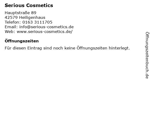 Serious Cosmetics in Heiligenhaus: Adresse und Öffnungszeiten