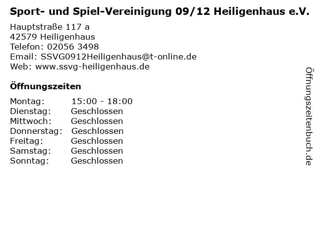Sport- und Spiel-Vereinigung 09/12 Heiligenhaus e.V. in Heiligenhaus: Adresse und Öffnungszeiten
