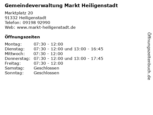 Gemeindeverwaltung Markt Heiligenstadt in Heiligenstadt: Adresse und Öffnungszeiten