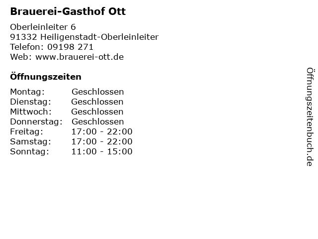 Brauerei-Gasthof Ott in Heiligenstadt-Oberleinleiter: Adresse und Öffnungszeiten