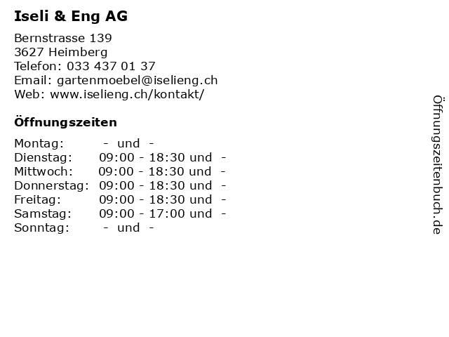 Iseli & Eng AG in Heimberg: Adresse und Öffnungszeiten