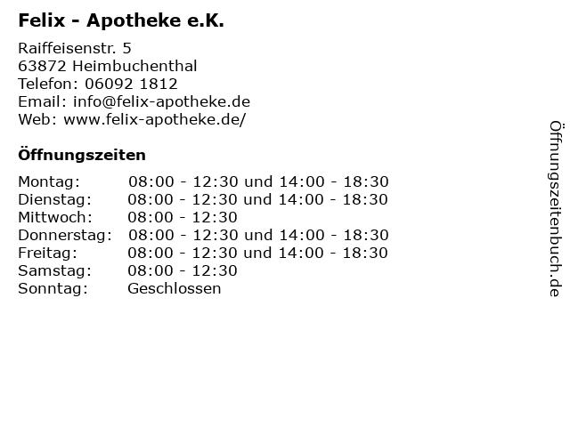 Felix - Apotheke e.K. in Heimbuchenthal: Adresse und Öffnungszeiten